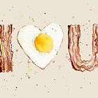 Bacon and Egg I Heart U Watercolor by OlechkaDesign