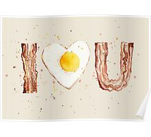 Bacon and Egg I Heart U Watercolor Poster