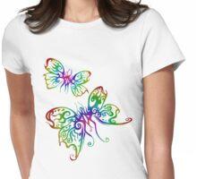 Rainbow Butterfliez Womens Fitted T-Shirt