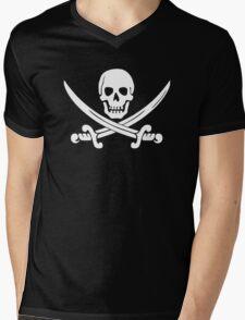 Calico Jack Pirate Flag T-Shirt - White Mens V-Neck T-Shirt