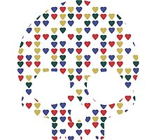 """""""All Heart"""" Skull Hearts Bones Primary Colors Bright Red Blue Yellow Green  by CanisPicta"""