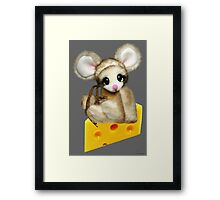 ✿♥‿♥✿LITTLE NIBBLES MOUSE ON CHEESE CHILDRENS PICTURE/ CARD✿♥‿♥✿  Framed Print