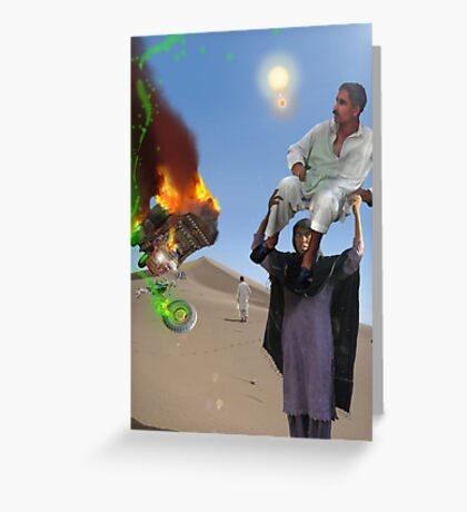 A Woman has got to do a Man's job at the Crash landing on the Moon of New Khanpur Greeting Card
