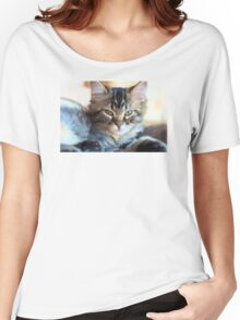 Kitty Cat--mixed media painting Women's Relaxed Fit T-Shirt