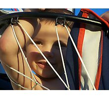 kid in basketball goal Photographic Print