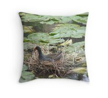 Nesting in the Waterlillies Throw Pillow