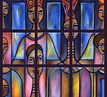 Stained Glass Choir, polyptych (9) by Makeba Kedem-DuBose