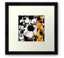 Monochrome and Yellow Black-eyed Susans Framed Print