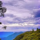 Turbulent Sky Coming Over Blue Mountains by Maggiebee
