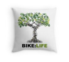 BIKE:LIFE tree Throw Pillow