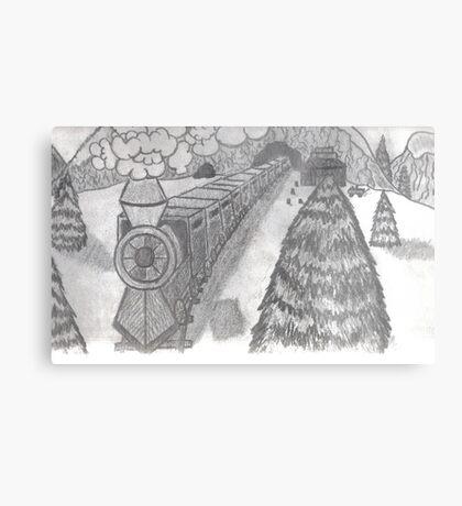 TRAIN IN THE SNOW Metal Print