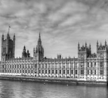 Tower Of Big Ben & Houses Of Parliament in Black & White by Michael Matthews