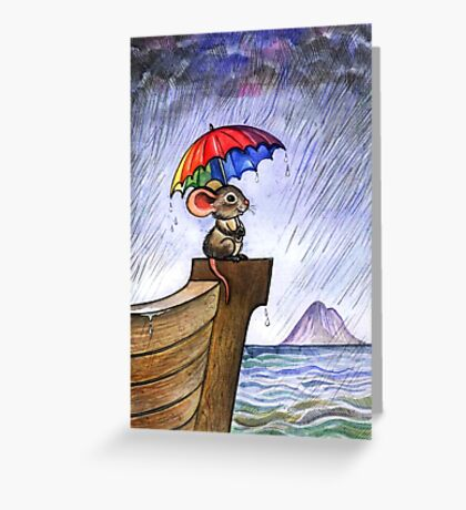 Little rainbow mouse Greeting Card