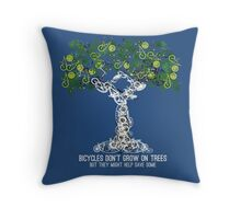 Bike Tree (white) Throw Pillow