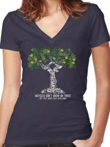 Bike Tree (white) Women's Fitted V-Neck T-Shirt
