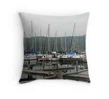 Seneca Lake Harbor, NY Throw Pillow