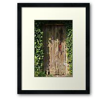 Old door in the garden is closed Framed Print
