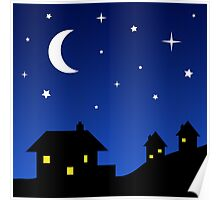 Houses with Starry Night Sky Poster