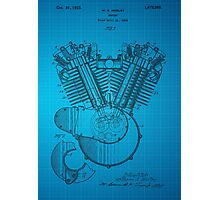 Harley Engine patent from 1919 - Blue Photographic Print