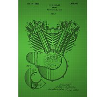 Harley Engine patent - Green Photographic Print