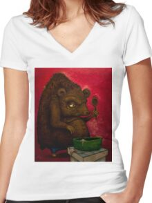 Who the Funk ate my Porridge (oiloncanvas) Women's Fitted V-Neck T-Shirt