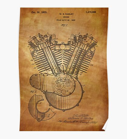 Engine patent from 1919  Poster
