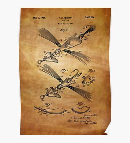Fish Lure Patent 1933 Poster