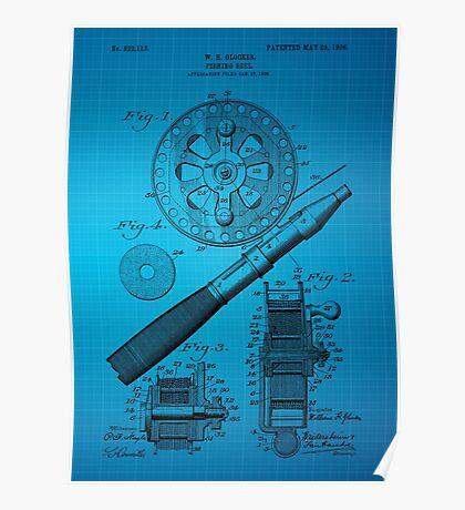 Fishing Reel Patent 1906 - Blue Poster