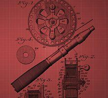 Fishing Reel Patent 1906 - Burgundy by chris2766