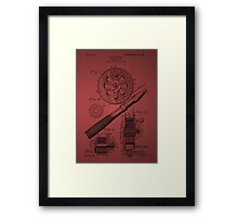 Fishing Reel Patent 1906 - Burgundy Framed Print