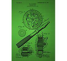 Fishing Reel Patent 1906 - Green Photographic Print