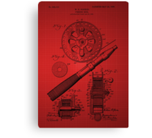 Fishing Reel Patent 1906 - Red Canvas Print