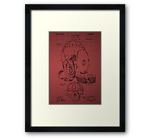 Football Helmet Patent  From 1927 - Burgundy Framed Print