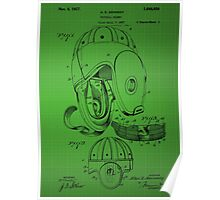 Football Helmet Patent  From 1927 - Green Poster