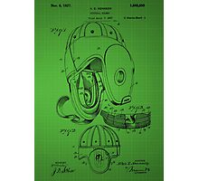 Football Helmet Patent  From 1927 - Green Photographic Print