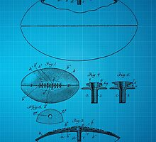 Football Patent Drawing From 1903 - Blue by chris2766