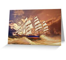 Cutty Sark in Heavy Seas Greeting Card