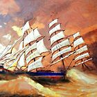 A digital painting of Cutty Sark in Heavy Seas - all products by Dennis Melling