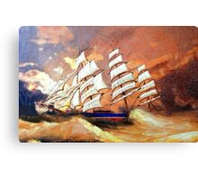 A digital painting of Cutty Sark in Heavy Seas Canvas Print