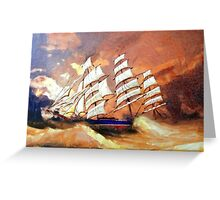 A digital painting of Cutty Sark in Heavy Seas Greeting Card