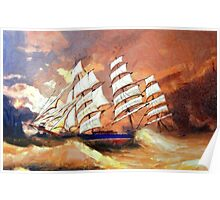 A digital painting of Cutty Sark in Heavy Seas - all products Poster