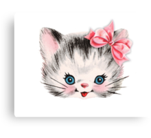 Sweet Heart Retro Kitty  Canvas Print