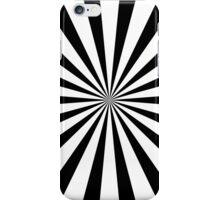 Black & White Sunburst Radial Stripe Pattern iPhone Case/Skin
