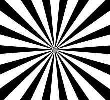 Black & White Sunburst Radial Stripe Pattern by TigerLynx