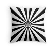 Black & White Sunburst Radial Stripe Pattern Throw Pillow