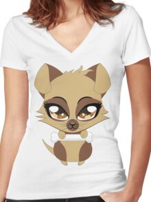 Cute little brown puppy Women's Fitted V-Neck T-Shirt