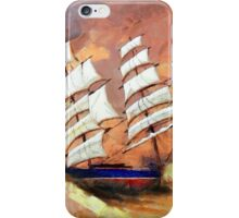 A digital painting of Cutty Sark in Heavy Seas iPhone Case/Skin