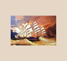 A digital painting of Cutty Sark in Heavy Seas Unisex T-Shirt