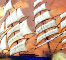 A digital painting of Cutty Sark in Heavy Seas - all products Sticker