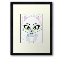 Cute cartoon little white kitten holds fish Framed Print